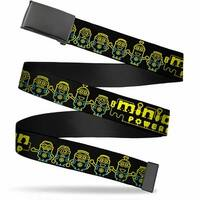 Blank Black Bo Buckle Minion Powered Electric Minions Black Yellow Web Belt