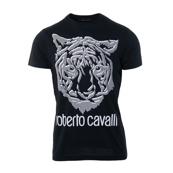 5da10536 Shop Roberto Cavalli Black Cotton Lion Head Print Short Sleeve Shirt - s -  Free Shipping Today - Overstock - 22021587
