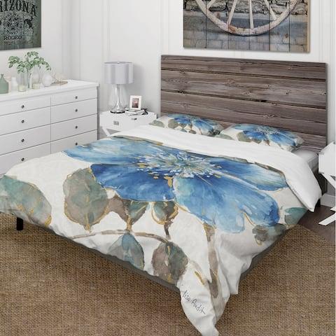 Designart 'Indigold Watercolor Flower I' Cottage Bedding Set - Duvet Cover & Shams