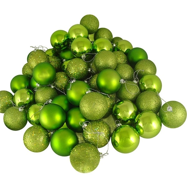 "24ct Green Kiwi Shatterproof 4-Finish Christmas Ball Ornaments 2.5"" (60mm)"