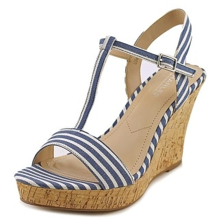 Charles By Charles David Libra Women Open Toe Canvas Blue Wedge Sandal