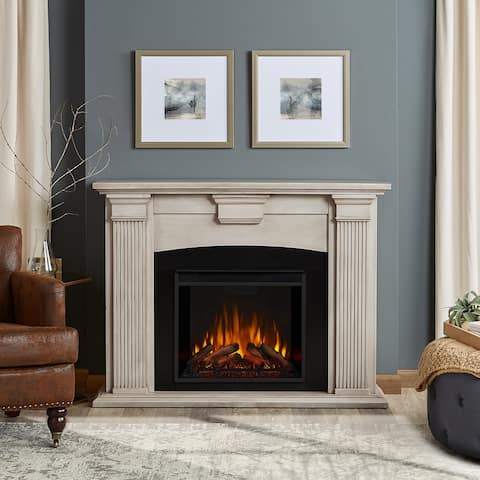 Adelaide Electric Fireplace in Dry Brush White - 51L x 13.1W x 39H