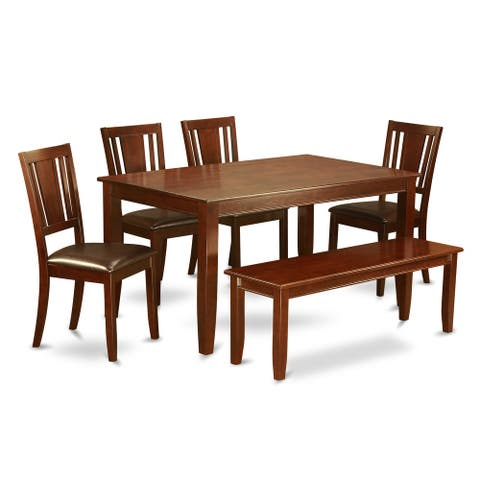 DUDL6-MAH 6 PC Dining set - Table and 4 Dining Chairs and Bench