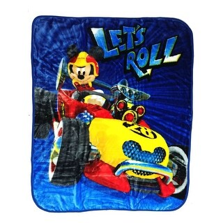 "Baby Boys Blue Mickey Mouse ""Let's Roll"" Print Royal Plush Blanket 40"" x 50"" - One size"