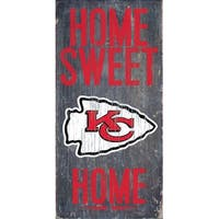 "Kansas City Chiefs Wood Sign - Home Sweet Home 6""x12"""