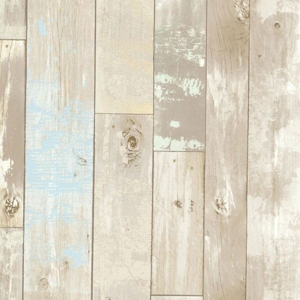 Brewster 2532 20440 Dean Neutral Distressed Wood Panel Wallpaper