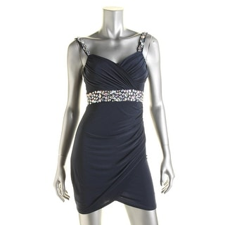 B. Darlin Womens Juniors Matte Jersey Rhinestone Clubwear Dress - 1/2