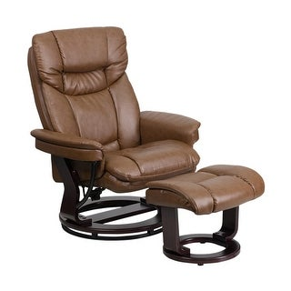 Offex Contemporary Palimino Leather Recliner and Ottoman with Swiveling Mahogany Wood Base [OF-BT-7821-PALIMINO-GG]