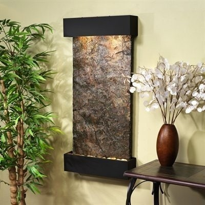 Adagio Whispering Creek With Green Natural Slate in Blackened Copper Finish Foun