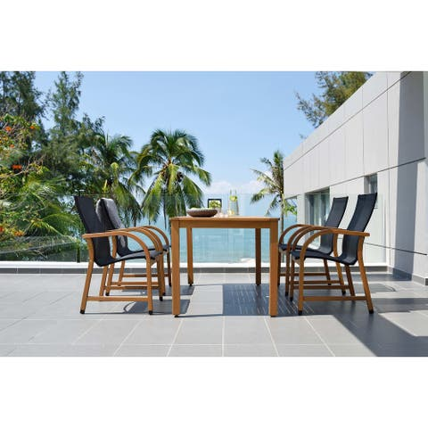 Lifestyle Garden 5-Piece Outdoor Rectangular Dining Set (Teak Finish)
