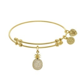 Angelica Collection Brass Yellow Pineapple Charm CZ On Bangle