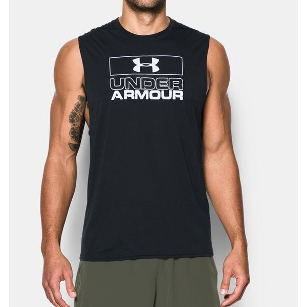 009bc2195ce64 Men  x27 s Under Armour 1289908 UA Charged Cotton Muscle Tank Top Black  Small