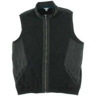 Calvin Klein Mens Ribbed Trim Zipper Casual Vest - S