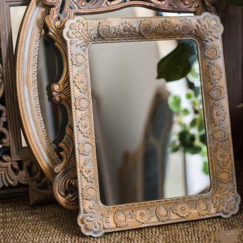 RusticReach French Style Carving Frame Wall Mirror Rectangular - Antique Gold