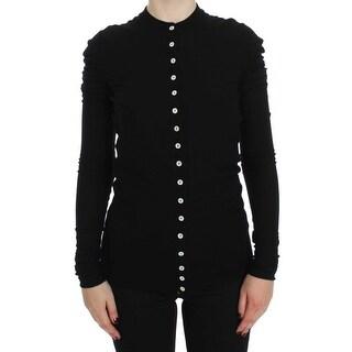 Dolce & Gabbana Black Wool Long Sleeve Cardigan Sweater - it40-s