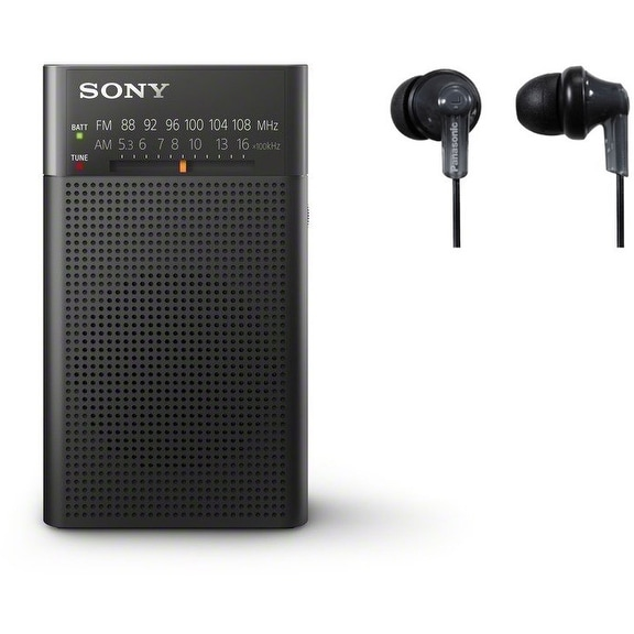 Sony ICFP26 Portable AM/FM Radio (Black) + Panasonic ErgoFit RP-HJE120-K (Black)