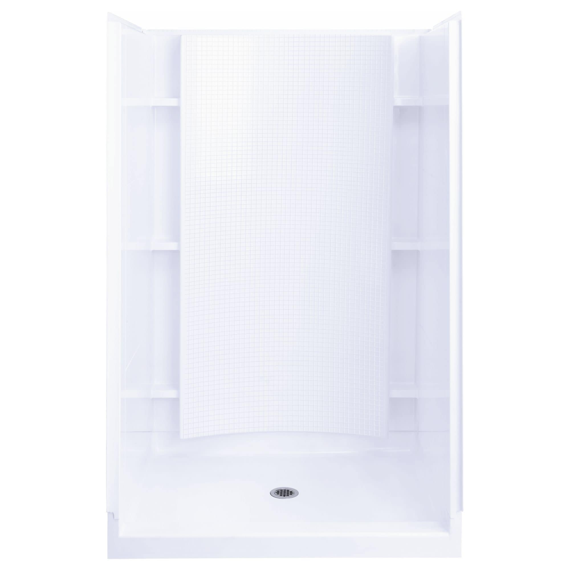Sterling 72240106  Accord 36 x 37-1/4 x 77 Vikrell Shower with Drain Center and Age-in-Place Backers (White)