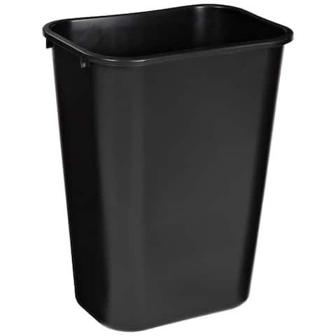 Rubbermaid FG295700BLA Rectangular Plastic Wastebasket, Black, 41 Qt