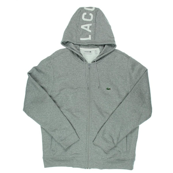 bef0b793d5 Shop Lacoste Mens Zip-Front Hoodie French Terry Monogram - Free ...