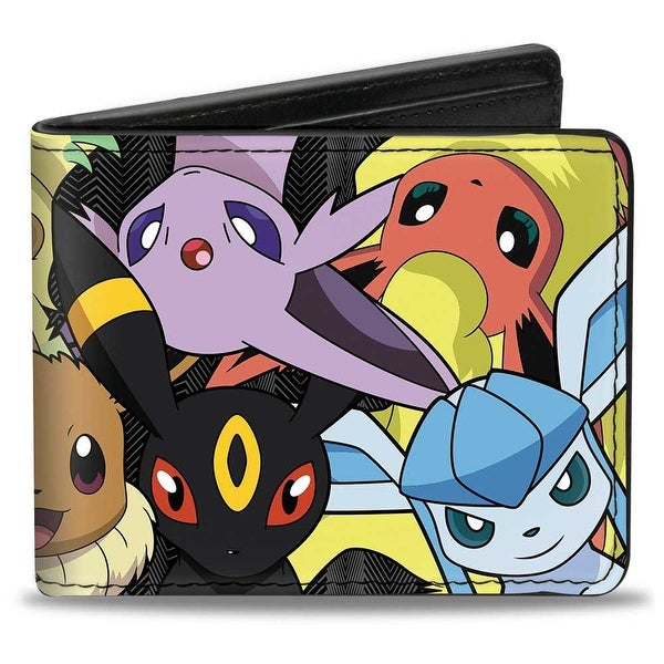 Eevee Evolution Pokmon Close Up Stacked + Pokmon Bi Fold Wallet - One Size Fits most