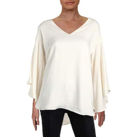 Lauren Ralph Lauren Womens Pullover Top Hi-Low Bell Sleeves