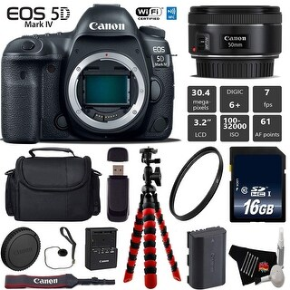Canon EOS 5D Mark IV DSLR Camera with 50mm f/1.8 STM Lens + Tripod + Wireless Remote + Card Reader - Intl Model