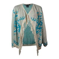 INC International Concepts Women's Fringed Sweater Cardigan