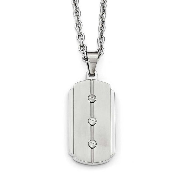 Chisel Stainless Steel Brushed and Polished Dogtag Necklace - 24 in