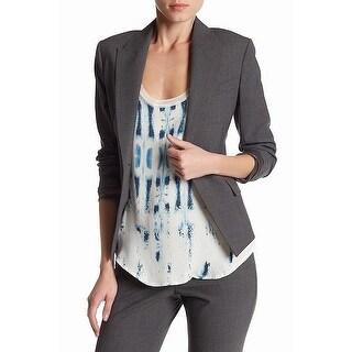 Theory NEW Gray Women Size 2 1-Button Brince Notch-Collar Blazer Wool