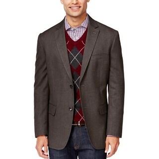 Tasso Elba Brown Brushed Cotton 2-Button Sportcoat Blazer Small S 36-38