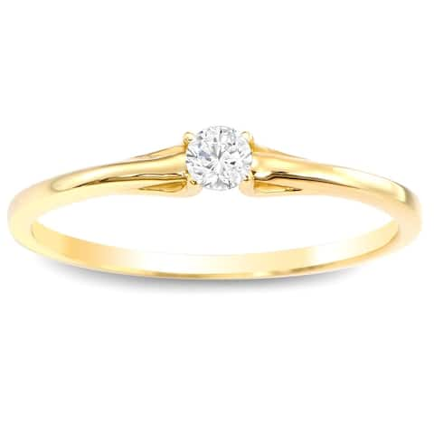 Auriya 1/10ctw Petite Solitaire Diamond Stacking Promise Ring 10k Gold