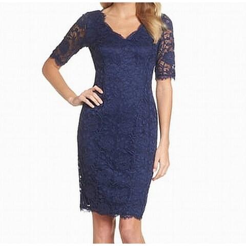 Adrianna Papell Blue Womens Size 10 V-Neck Lace Sheath Dress