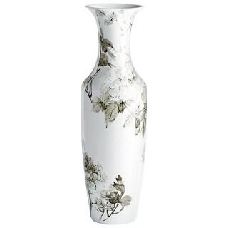"Cyan Design 09882  Blossom 10"" Diameter Ceramic Vase - White"
