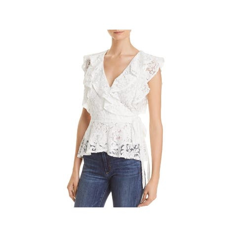 Lucy Paris Womens Wrap Top Lace Ruffle Sleeves