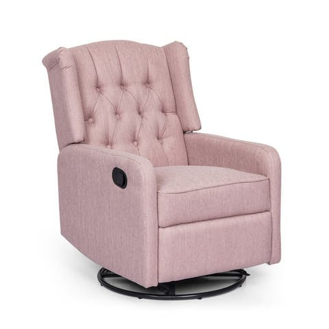 Mohaven Contemporary Tufted Wingback Swivel Recliner by Christopher Knight Home