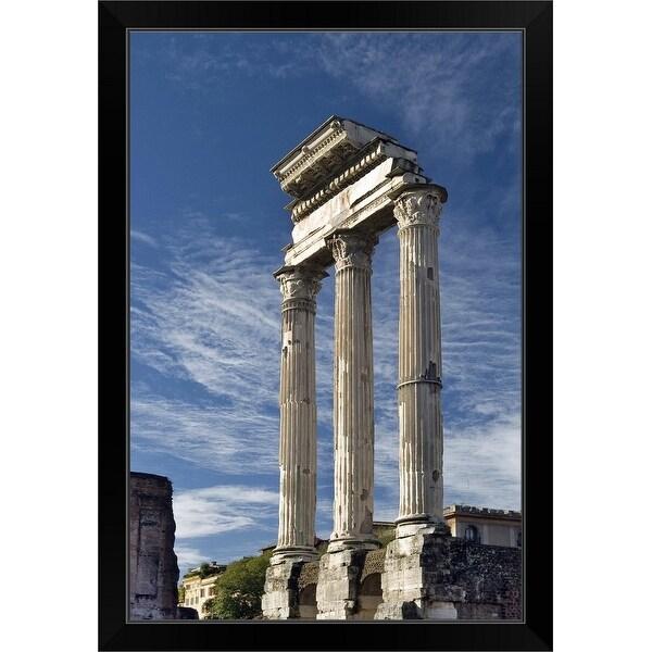 """Column ruins at Roman Forum"" Black Framed Print"