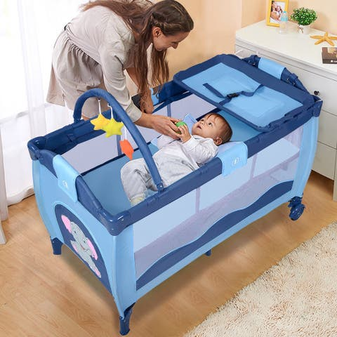 Blue Baby Crib Playpen Playard Pack Travel Infant Bassinet Bed