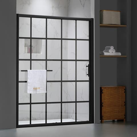 """FELYL 60"""" W × 72"""" H Single Sliding Framed Shower Door with Heat Soaking Process and Protective Coating Clear Glass"""