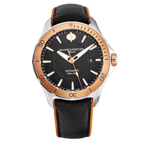 Baume Mercier Men's M0A10424 'Clifton' Black Dial Two-Tone Leather Strap Swiss Automatic Watch