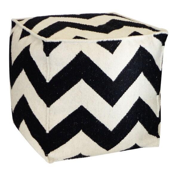 Vivai Home Black Zig Zag Square 22x 22x22 Wool Cotton Ottoman Cushion