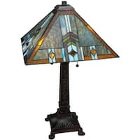 """Meyda Tiffany 138772 Prairie Wheat 2-Light 26.5"""" Tall Hand-Crafted Table Lamp with Stained Glass - Mahogany Bronze"""