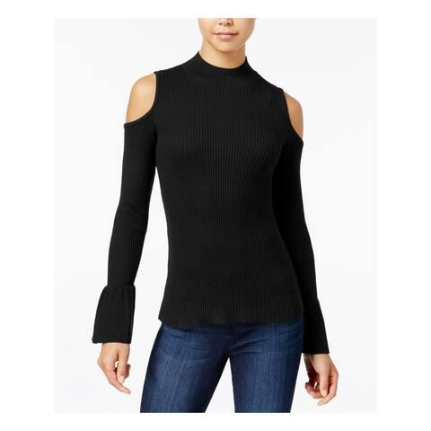 BCX Womens Black Cold Shoulder Rib Knit Mock Neck Long Sleeve Sweater Juniors Size: S