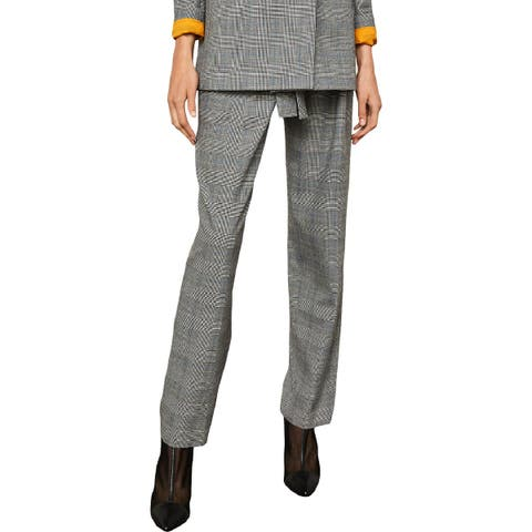BCBG Max Azria Womens Trouser Pants Plaid Pleated