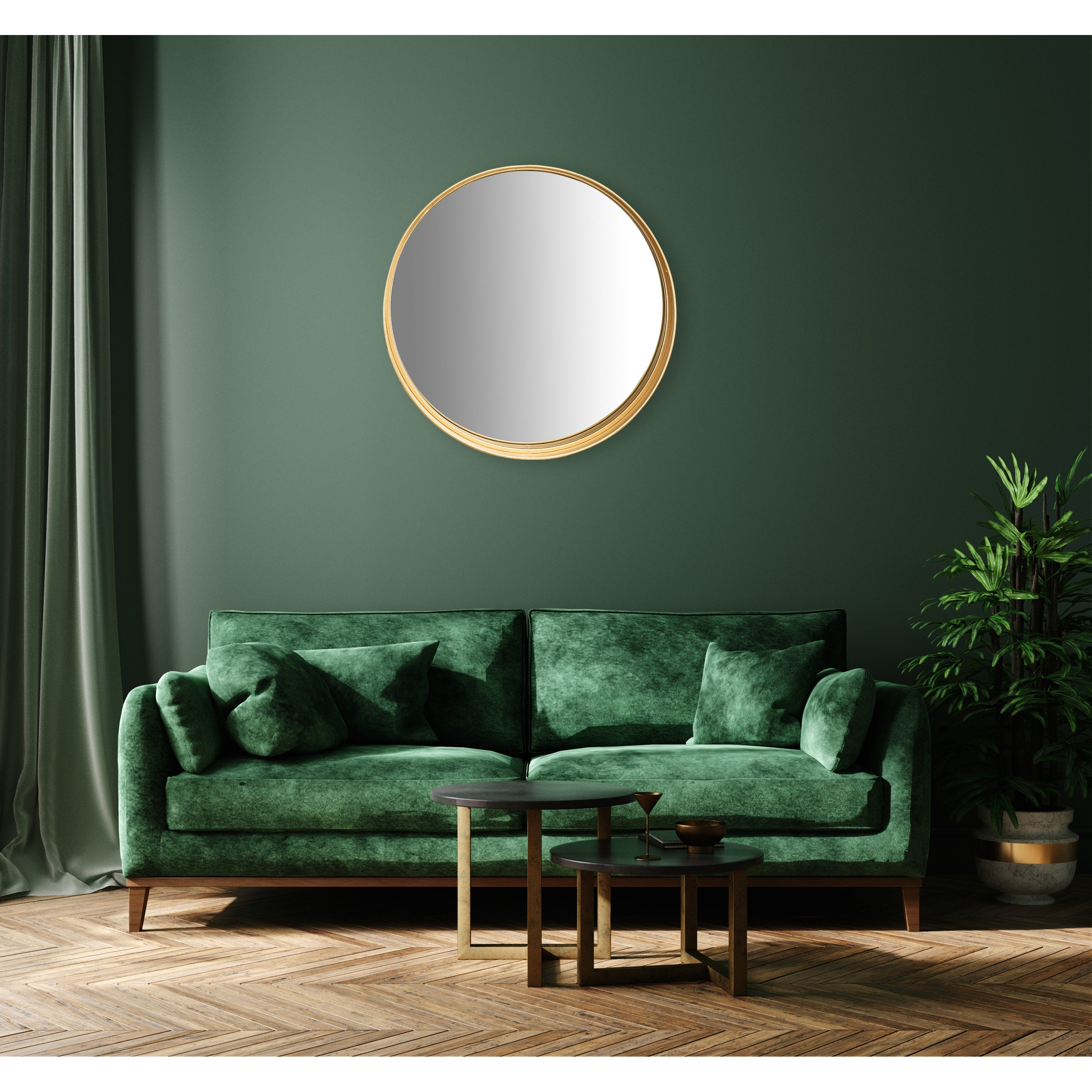 Round Accent Mirror With Gold Metal Frame Shelf Black And Gold On Sale Overstock 31261753