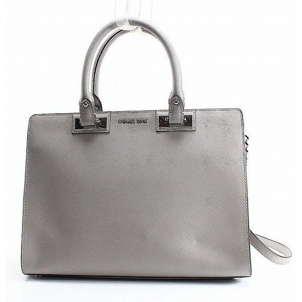 1635768ee1bd Shop Michael Kors Pearl Gray Quinn Large Satchel Saffiano Leather ...