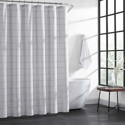 Kenneth Cole New York Holden Grid Cotton Grey Shower Curtain