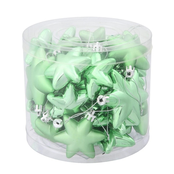 "36ct Matte & Shiny Celadon Green Star Shatterproof Christmas Ornaments 1.5""-2"""
