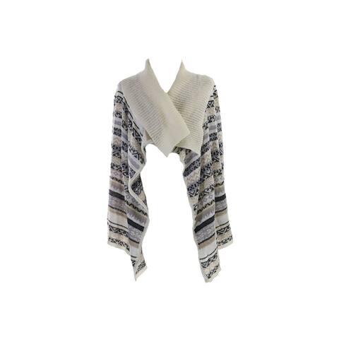 Kensie White Multi High-Low Fair Isle-Knit Cardigan XS