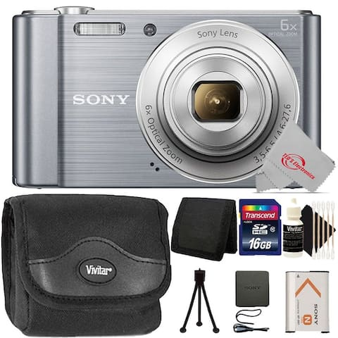 Sony Cyber-shot DSC-W810 Digital Camera Silver + 16GB Memory Card + Wallet + Case + Mini Tripod + 3pc Cleaning Kit