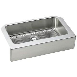 "Elkay ELUHFS2816DBG Gourmet Lustertone Stainless Steel 33"" x 20-1/2"" Single Basin Undermount Kitchen Sink with 7-7/8"" Depth,"